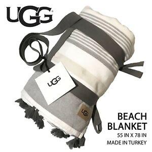 "New UGG Cotton Beach Blanket 55""x78"" White Beige Gray Stripes w/ Gray Tassels"