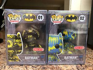 Funko Pop BATMAN ART SERIES #01 Black Yellow & #02 Blue Artist DC Heroes Target