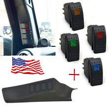 Black Left Side A-Pillar Pod with 4 Switch for Jeep Wrangler JK Unlimited 11-17