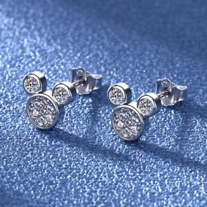 Dainty Mickey Mouse Studded Earrings with Gem detailing 925 sterling silver