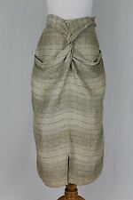 Vintage MAX MARA Italy Woven Natural Linen Below the knee Artsy Skirt 40 XS