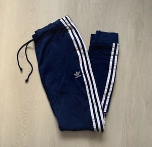 Women's ADIDAS ORIGINALS Navy Cuffed Pants SIZE UK 8
