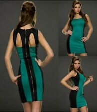 Sz 10 12 Sleeveless Green Black Bodycon Club Prom Cocktail Party Sexy Mini Dress