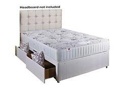 Comfort Rest Divan Bed with Memory Foam Mattress 2 Draws No Headboard- Double