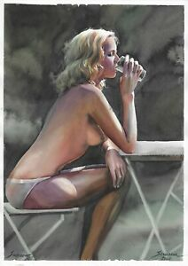 original drawing A3 36SA art by samovar female nude watercolor Signed 2020