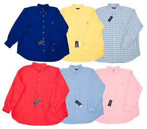 RALPH LAUREN BIG TALL MEN'S LONG SLEEVE OXFORD SHIRTS BLUE YELLOW CHECK RED PINK