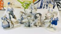 Lot Of 9 Vintage GDR porcelain Blue and White Boy & Girl Figurines Cute Figurine