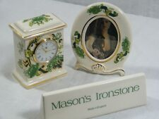 """Wedgwood/Masons Small Mantle Clock in """" Chartreuse """" & matching Picture Frame."""