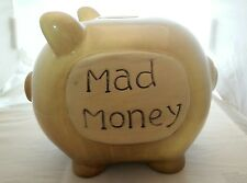 VINTAGE PIGGY BANK MAD MONEY CERAMIC PORCELAIN PIG BEIGE * FREE SHIPPING