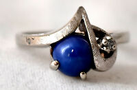 Vintage 14K Solid White Gold and Star Sapphire and Diamond Ring Size 8 1/4