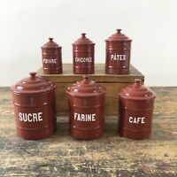 Full set of antique french enamel storage containers