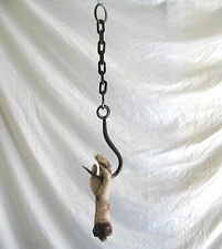 Human Hand on Hook & Chain Body Parts Dungeon Haunted House Halloween Party Prop