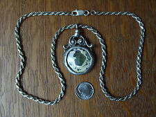 Antique Roman Bottle Glass Sterling Silver Italy 20 in Chain Necklace Pendant
