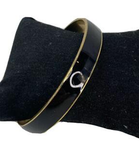 "Black Gold Tone J.Crew Bracelet Bangle Enamel 2.5"""