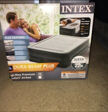 Queen Size Air Bed Mattress Intex 22 Built-In Electric Pump Raised -New