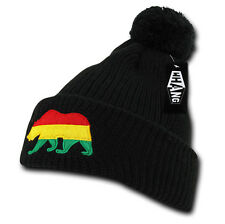 California Republic BLACK RASTA BEANIE HAT Pom Cuff CALI BEAR Knit Ski Cap