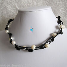 "Necklace Black Leather Rope Necklace 18"" 9-10mm White Freshwater Pearl"