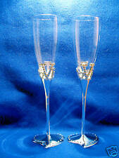 Wedding/Bridal Toasting Champagne Flutes - LOVE with Diamante Heart Bases..