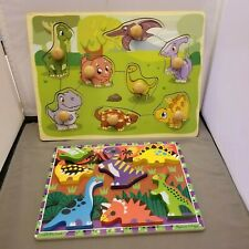 Dinosaurs Wooden Puzzle x 2 Chunky & Large Knob Preschool