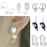Women Girls Cute Stainless Steel Crystal Cat Animal Ear Studs Earrings Jewelry
