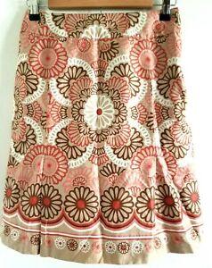 Loft Petites Skirt 0P Lined Pleats Knee Length Floral Pink Brown White Side Zip