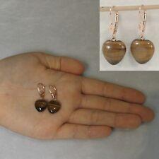 14k Solid Rose Gold Lever Back Heart Genuine Brown Tiger-Eye Dangle Earrings TPJ