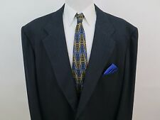 Kiton Napoli Wool Dark Blue Striped Mens Suit 54 XL 50x32 Big Man Made in Italy