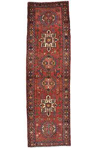 Vintage Tribal Oriental Karajeh Runner, 3'x11', Red, Hand-Knotted Wool Pile