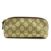 Gucci Pouch Bag G logos Brown Beige Woman unisex Authentic Used Y6241