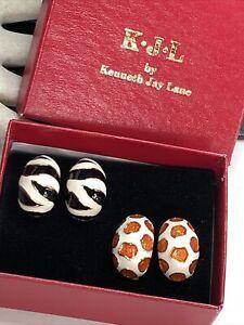 Vintage Signed KJL Kenneth Lane 2pr Enamel ANIMAL Pattern Clip On Earrings W/Box
