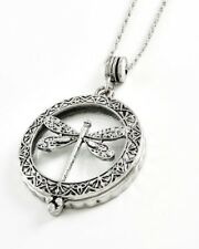 Dragonfly Magnifying Glass Long Pendant Necklace Insect Antiqued Detail Retro