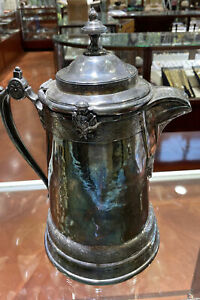 """Antique 1872 Aesthetic Reed & Barton Ice Water Pitcher w/ Porcelain Liner 14""""H"""