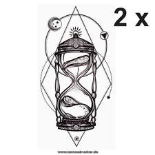 2 x Sanduhr Tattoo - Geometric Mond Oriental - Body Temporary Tattoo - XQB040-2