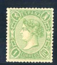SELLOS DE ESPAÑA 1865 Nº 78 ISABEL II 1 REAL VERDE NUEVO  Certificado Graus