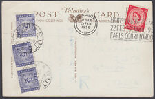 1956 Postage Due Postcard London Slogan to Italy