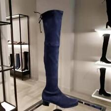 $ 835 Stuart Weitzman Nice Blue Suede Over the Knee boots Midland size 7