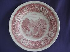 SIX red pink transferware BURGENLAND rimmed SOUP PASTA BOWL PLATE Villeroy&Boch
