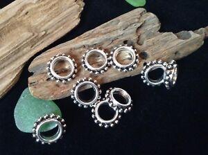 Dreadlock Beads 10 x Silver Tone Tribal Gypsy Dread Ring Cuffs 7mm Hole! UK