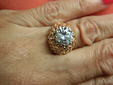 GORGEOUS 14k Gold Nugget 8.5MM 2 1/4 Ct Charles Colvard Moissanite Ring Size 5.5