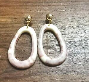Large  Hoop Earrings Boho Hippy Jewellery Shell Beach Cream Pink Icecream