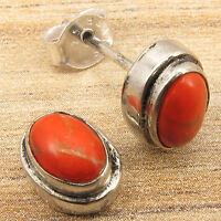 ORANGE COPPER TURQUOISE MODERN Stud Post Earrings ! Silver Plated Jewelry