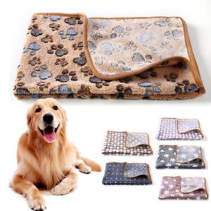 Pet Mat Small Large Paw Print Cat Dog Puppy Fleece Soft Warm Blanket Cushion New