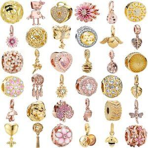 S925 Rose Gold Silver Charms Pendant Bead FIT European Bracelet Chains Bangle