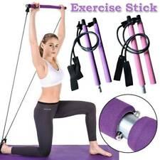 Pink Purple Fitness Yoga Pilates Bar Kit Resistance Band Exercise Stick Toning