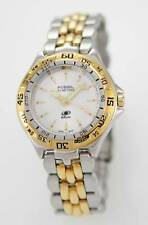 Fossil Watch Men White Stainless Steel Gold Silver Easy Read Battery Quartz