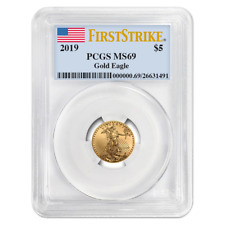 2019 $5 American Gold Eagle 1/10 oz. PCGS MS69 First Strike Flag Label