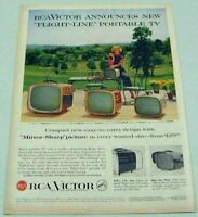 1957 Print Ad RCA Victor Flight-Line Portable Television Sets Pretty Lady