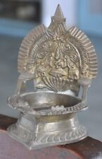 Old Brass Goddess Laxmi Embossed Unique Oil Lamp,Rich Patina