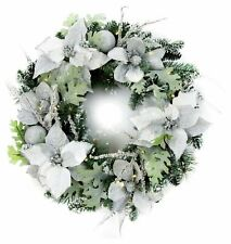 Premier Decorations 60cm Pre-Lit Poinsettia Christmas Wreath - White & Green
