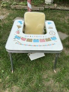 Vtg 1950-60's Child's Folding High Chair Play Train Boats Table Seat On Wheels